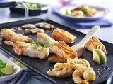Gourmet vis menu met pannetjes_