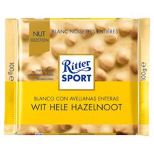 Rittersport Wit Hele Hazelnoot 100gr